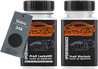 TRISTARcolor Autolack Lackstift Set für Volvo 346 Black Sapphire Metallic Basislack Klarlack je 50ml