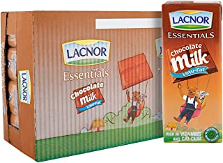 Lacnor Essentials Chocolate Low Fat Milk, 100% Natural, Rich in Vitamin and Calcium, 180 ML Pack of 32