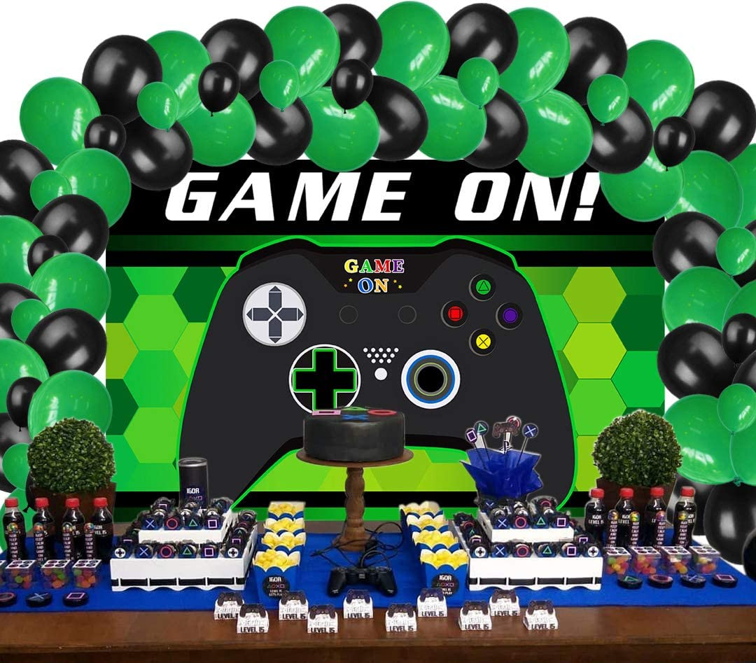 Video Game Party Supplies Decorations, Backdrop and Balloons Kit