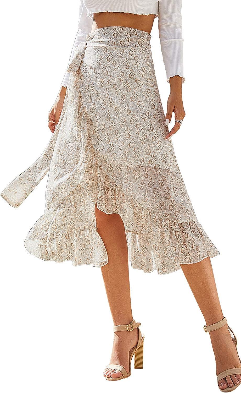 Zojuyozio Women Boho Skirt Summer Tie Up Waist Wrap Split Chiffon Floral  Midi Skirts
