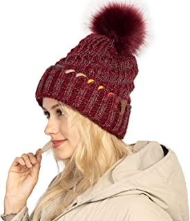 Love Explosion Winter Pom Pom Beanie Hat with Warm Fleece Lined, Warm Thick Knit Skull Ski Cap for Women