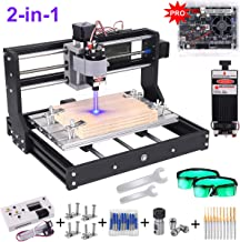 2-in-1 3000MW Laser Engraver CNC 3018 Pro Engraving Machine, GRBL Control 3 Axis DIY Mini CNC Machine Wood Router Engraver with Offline Controller + ER11 Extension Rod + CNC Router Bits