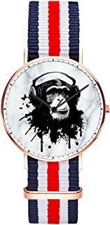 Men 40mm Stainless Steel Rose Gold Classic Quartz Anchor Watch Blue White Red White Blue Nylon Replaceable Multi-Color Striped Nylon Band, Under 20 Dollar Amout