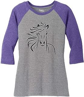 Ladies Horse Outline Graphic Tee 3/4 Raglan