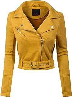 MixMatchy Women's Trendy Faux Suede Short Moto Biker Side Zipper Outwear Jacket