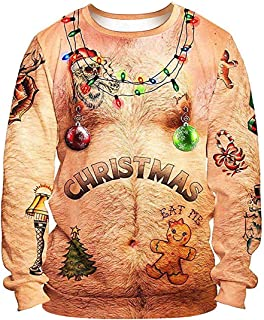 Unisex Ugly Christmas Sweater 3D Print Funny Novelty Xmas Holiday Party Pullover Sweatshirt