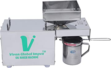 VIVAN GLOBAL IMPEX Stainless Steel Organic Oil Maker Machine/Extract Oil from Peanuts, Mustered,Sesame,Soybean,Sunflower, ...