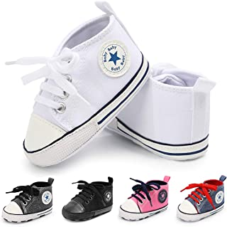 Baby Boys Girls Canvas Shoes Soft Sole High-Top Ankle Sneakers Infant Newborn First Walker Prewalker Shoes(0-18 Months)