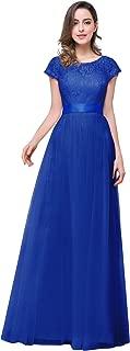 Women's Lace Applique Prom Long Dress Cap Sleeve Formal Eevening Gown