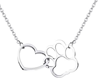 Stainless Steel Paw Print Pendant Necklace for Women Girls Forever Love Heart Link Dog Paw Pendant Couple Necklace Jewelry