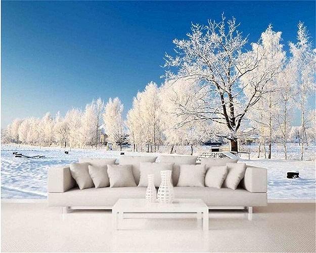 VIXI Stickers muraux Papier peint Esthétique personnalisée Papier peint Paysage de neige Paysage minimaliste Beau fond 3D Art Decal Mural,300  210cm,