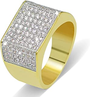 JINAO 18k Gold Plated Hip Hop ICED Out Square Bling Ring