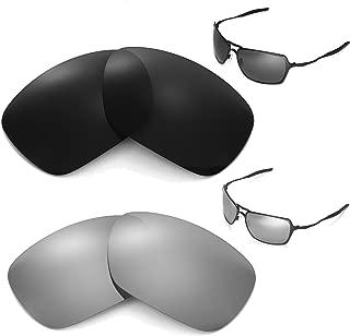 Walleva Polarized Black + Titanium Replacement Lenses For Oakley Inmate Sunglasses