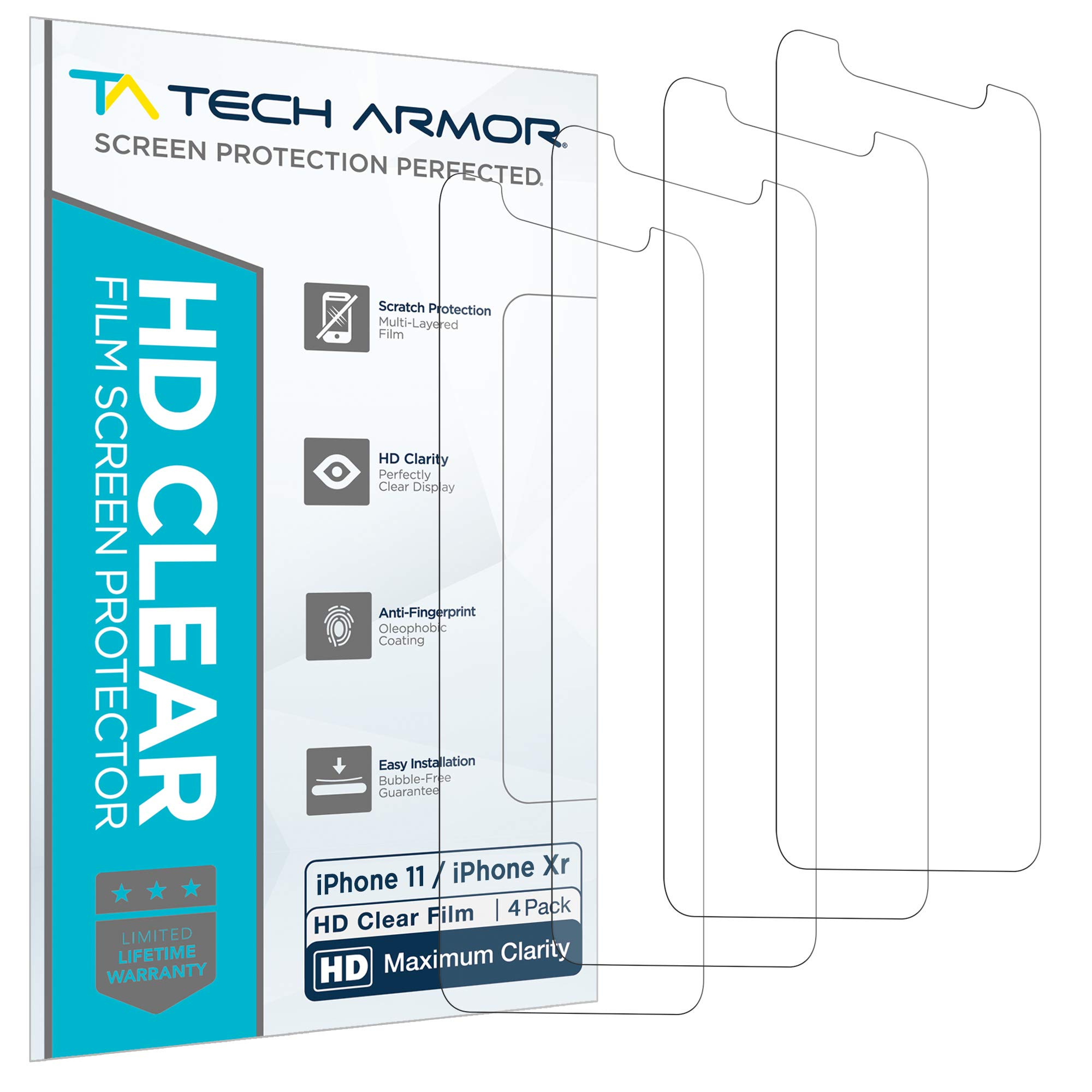 Tech Armor Apple iPhone XR HD Clear Film Screen Protector [4-Pack] Case-Friendly, Scratch Resistant, Haptic Touch Accurate Designed for New 2018 Apple iPhone XR: Amazon.es: Electrónica