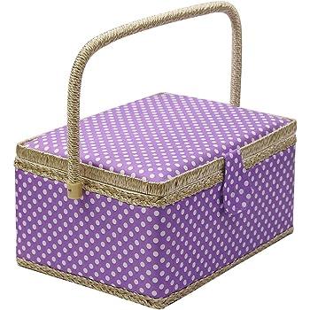 Caja de costura con accesorios para kit de costura, organizador de cesta de costura de madera D&D con accesorios para el hogar, viajes, lunares azules, grande Large L - PURPLE: Amazon.es: Hogar