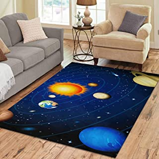INTERESTPRINT Sweet Home Stores Collection Custom Solar System Area Rug 7'x5' Indoor Soft Carpet
