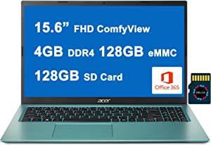 "Acer Aspire 1 Premium Business 15 Laptop 15.6"" FHD ComfyView Display Intel Celeron N4500 Processor 4GB RAM 128GB eMMC + 128GB SD Card HDMI Office365 WiFi5 Win10 Blue + 32GB MicroSD Card"