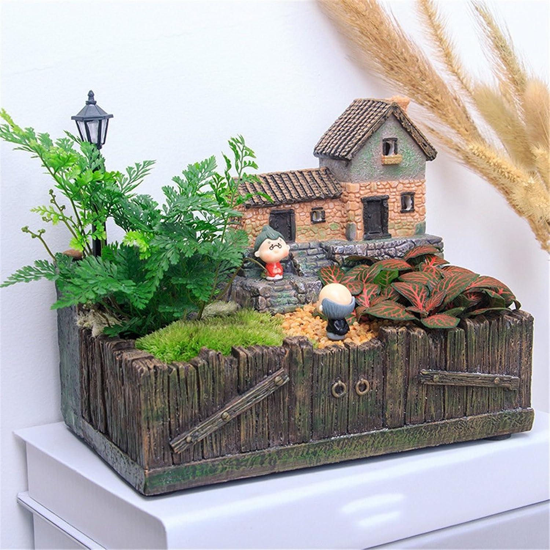 YANZHEN Pates de fleurs pastorales pastorales créatives de bureau Office Desktop vert Plant Fleurs en pot Bonsai Décoration en pot ( Couleur   B )