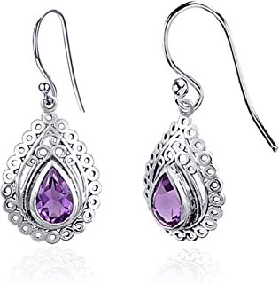 Orchid Jewelry 2.49 CTW Natural 9X6MM Pear Purple Amethyst 925 Sterling Silver Dangle Earrings For Women – A February Birt...