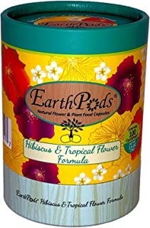 EarthPods Premium Hibiscus & Tropical Flower Plant Food – Easy Organic Fertilizer Spikes – 100 Capsules – Boosts Blooms, C...