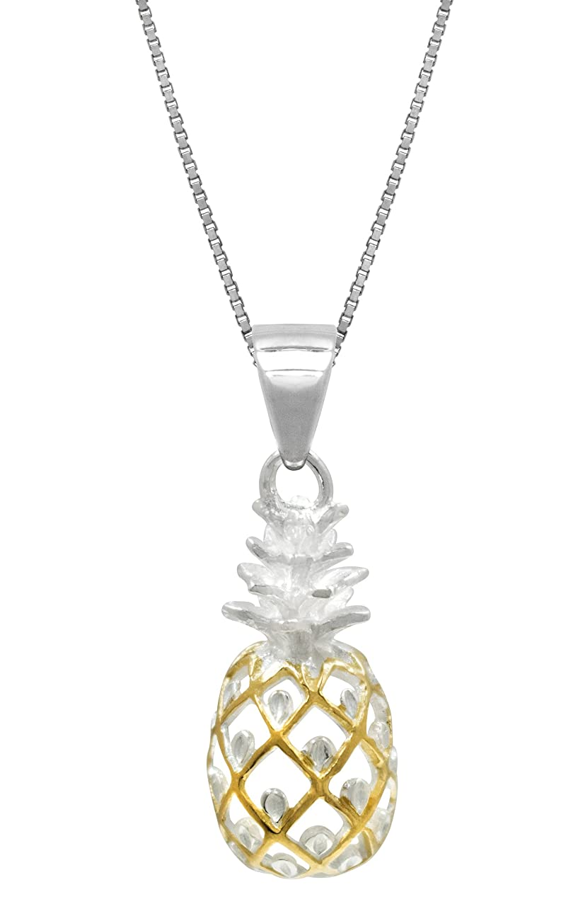 Sterling Silver with 14k Gold Plated Trim Pineapple Necklace Pendant with 18