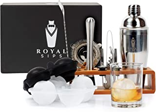 Royal Sips Premium Cocktail Shaker Set With Ice Ball Mold And Bamboo Stand - Bar Tools And Bar Accessories - Bar Set Shake...