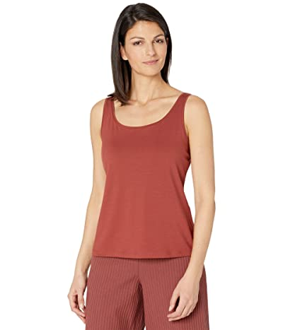 Eileen Fisher Fine Jersey Scoop Neck Slim Shell (Deep Terracotta) Women
