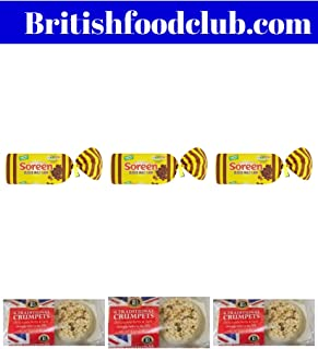 Bundle of 6 Lakeland Bake Traditional British Crumpets x 3 Packs and Soreen Sliced Malt Loaf 280g x 3 Packs Delivers 3-5 Days US