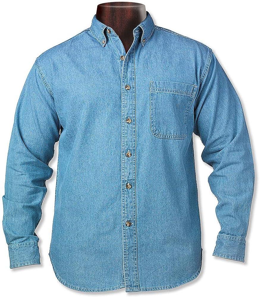 ESTEEM CLOTHING Men's Long Sleeve Tall Button Down Shirt Denim Shirt