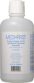 Medi-First 21526 Medi Wash Eye Saline Bottle, 32-Ounce