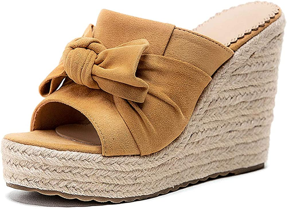 Erocalli Slip on Wedges Espadrille Sandals for Women Summer Slides Platform Sandals Open Toe Beach Sandals