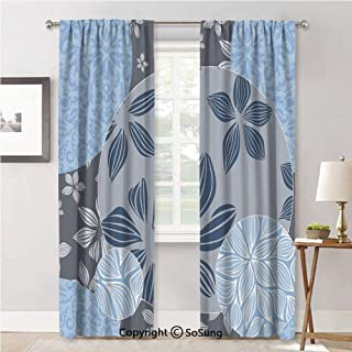 Fashion Privacy Window Curtains For Bedroom,Tropical Blooms inside Circular Shaped Forms Swirled Petals Elegance Pattern Light Blue Grey,Curtain Panels For Bedroom-Window,52x96inch each,2 Panels
