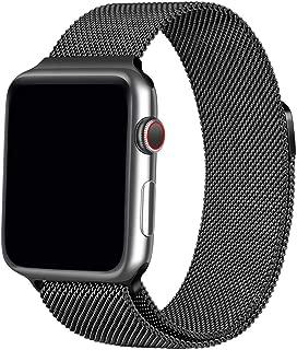 Apple Watch バンド 最新の製造プロセス New Apple Watch Band Black iWatch ベルト apple バンド ミラネーゼループ アップルウォッチバンド アップルウォッチ5 apple watch series 5 apple watch series4 3 2 1 に対応 留め金製 新しいApple Watchバンドに適応する(38mm 40mm ブラック)