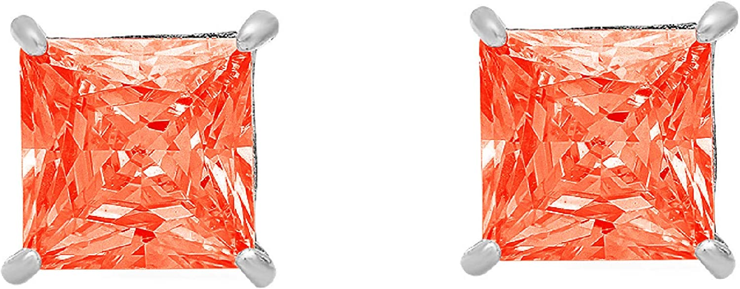 3.94cttw Princess Cut ideal VVS1 Conflict Free Gemstone Solitaire Genuine Red CZ Unisex Designer Stud Earrings Solid 14k White Gold Screw Back