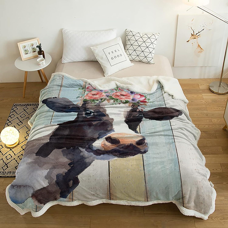 Sherpa Fleece Throw Blanket Watercolor Warm Animal Su Many popular brands Plush Weekly update Farm