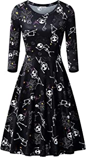 CRACHY Womens 3/4 Sleeve Round Neck Casual Flared Halloween Dress with Pockets