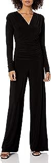 Women's V Neck Longsleeve Shirred Waist Jumpsuit