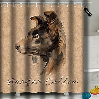 txregxy Bathroom Curtains Shower Curtain Border Collie Portraitdog Cute Puppy White Australian Shepherd Bathroom Decor Set with Hooks 72 by 10537 Inches 72