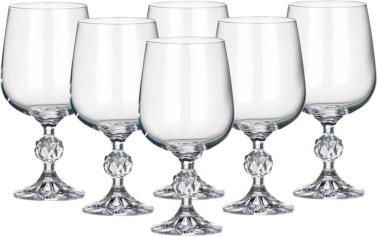 Crystalite Set Of 6 X 11 Oz Red Wine Glasses Goblets Bohemia Crystal Lead Free Glass 340 Ml