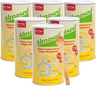 Almased Meal Replacement Shake (6 Pack) with Bonus Bamboo Spoon - 17.6 oz Powder - High Protein Weight Loss Drink, Fat Metabolism Booster - Vegetarian, Gluten Free - 60 Total Servings