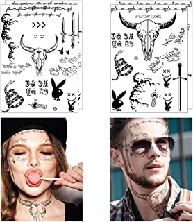 Comdoit 4 Sheets Halloween Face Tattoos for Adults Women Men Festival Face Temporary Tattoos Stickers Halloween Costume Accessories Halloween Party Favor Supplies
