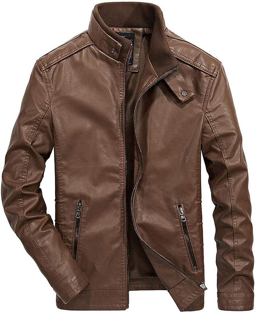 ebossy Men's Ribbed Stand Collar ブランド買うならブランドオフ 奉呈 Moto Jacket Leather Slim Faux