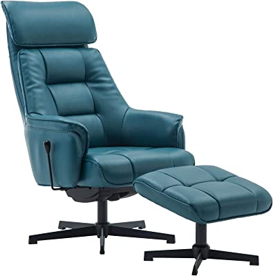 Oak City Florence Plush Faux Leather Swivel Recliner Chair