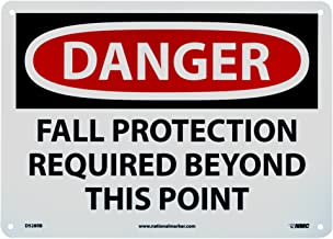 NMC D528RB – DANGER – FALL PROTECTION REQUIRED BEYOND THIS POINT – 14 in. x 10 in. Plastic Danger Sign with White/Black Text on Red/White Base