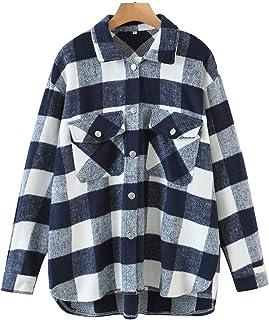 Sponsored Ad - Haellun Women's Wool Blend Plaid Lapel Button Down Pocketed Shacket Shirts Coats