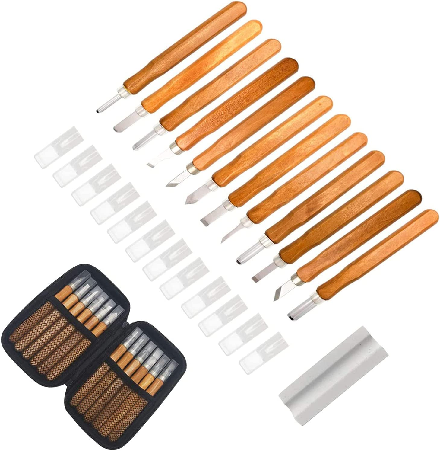 Wood Carving Chisel A surprise price is realized Set lowest price with Mahoga Bag Imitation Leather 12Pcs