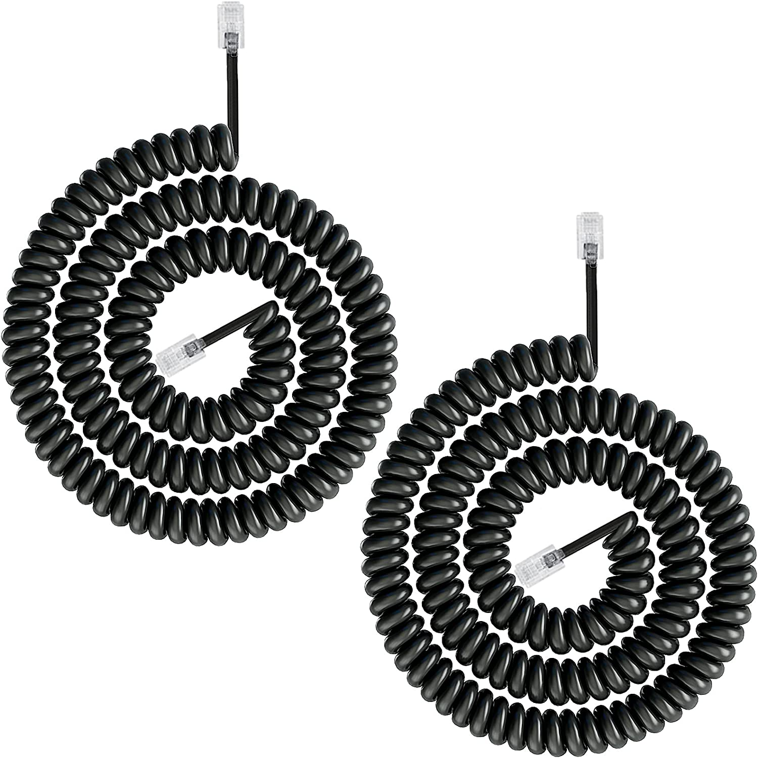 Telephone Phone Handset Cable Cord,Uvital Coiled Length 2.64 to 22 Feet Uncoiled Landline Phone Handset Cable Cord RJ9/RJ10/RJ22 4P4C(Black,2 PCS)