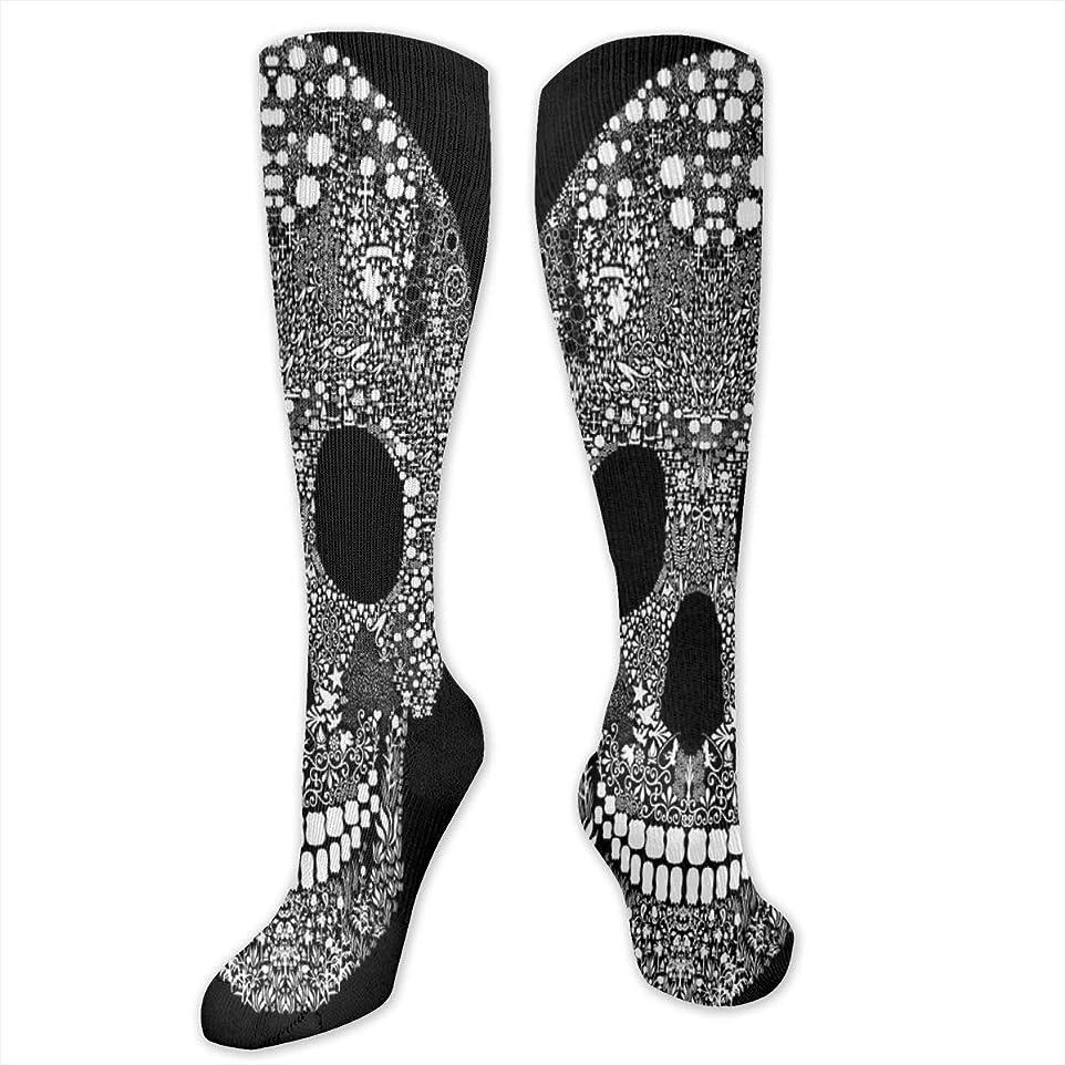 レディースFunny Casual Socks - コットンファニースカルブラックアスレチックソックス