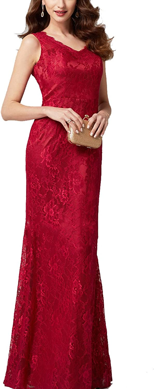 Newdeve Red Mother of The Bride VNeckline Sleeveless Lace Slim Fit Long Evening Party Prom Dress
