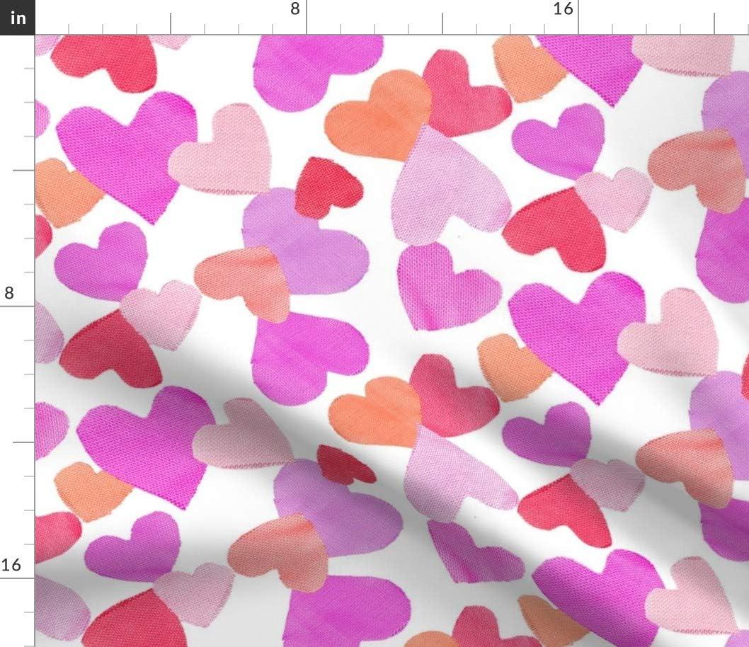 Spoonflower Fabric - Out Detroit Mall Hearts Pink Elegant Love Orange Pinks Valentine